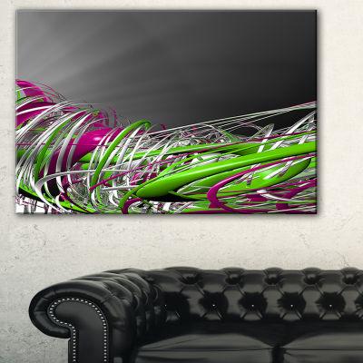 Designart Fractal 3D Green Purple Stripes AbstractCanvas Art Print