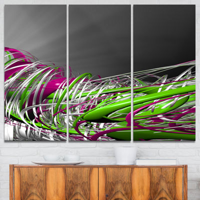 Designart Fractal 3D Green Purple Stripes AbstractCanvas Art Print - 3 Panels