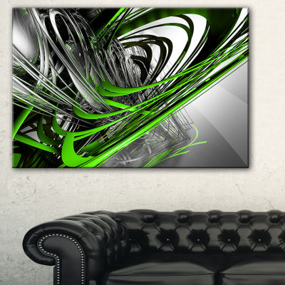 Designart Fractal 3D Green Silver Stripes AbstractCanvas Art Print