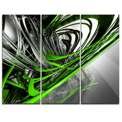 Designart Fractal 3D Green Silver Stripes AbstractCanvas Art Print - 3 Panels