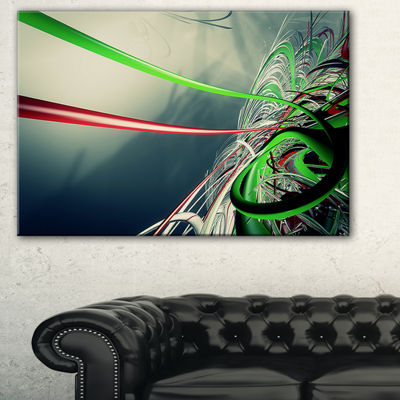 Designart Fractal 3D Green Stripes Abstract CanvasArt Print - 3 Panels