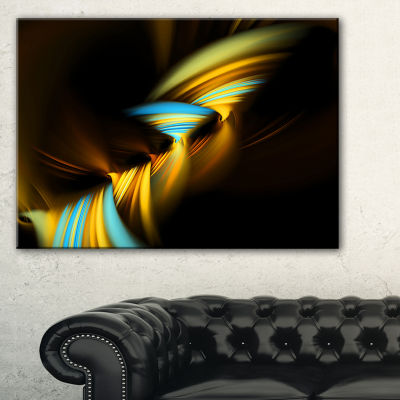 Designart Fractal 3D Layers Yellow Blue AbstractCanvas Art Print