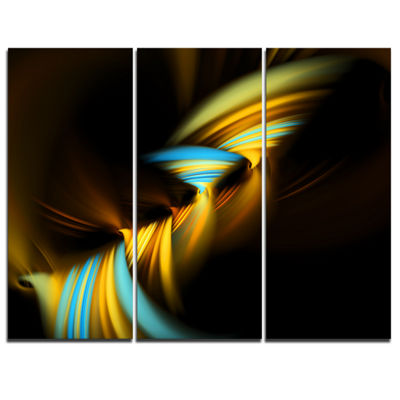 Designart Fractal 3D Layers Yellow Blue AbstractCanvas Art Print - 3 Panels