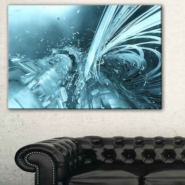 Designart Fractal 3D Light Blue Collision AbstractCanvas Art Print