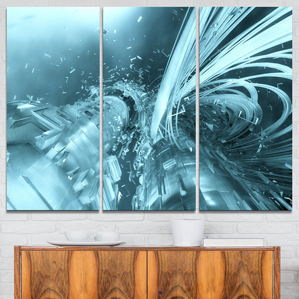 Designart Fractal 3D Light Blue Collision AbstractCanvas Art Print - 3 Panels