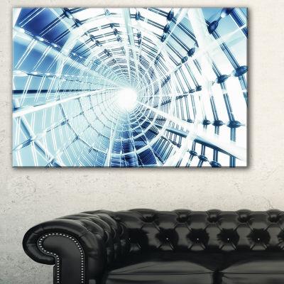 Designart Fractal 3D Network Spiral Abstract Canvas Art Print - 3 Panels