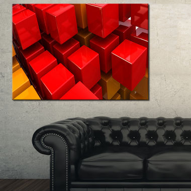 Designart Fractal 3D Red N Yellow Cubes Abstract Canvas Art Print