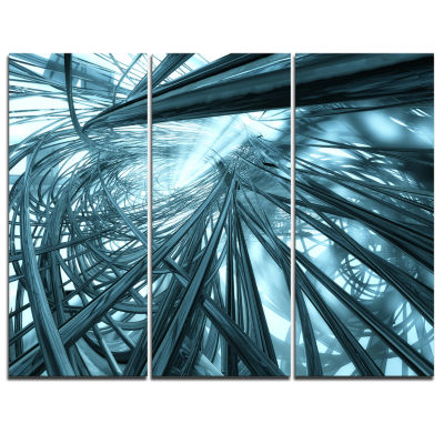 Designart Fractal 3D Stripes Everywhere Abstract Canvas Art Print - 3 Panels