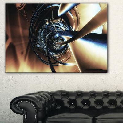 Designart Fractal 3D Tangled Center Abstract Canvas Art Print - 3 Panels