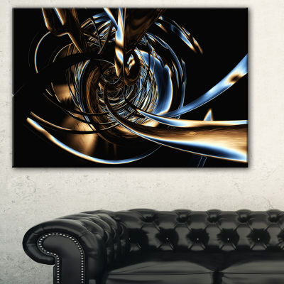 Design Art Fractal 3D Tangled Stripes Abstract Canvas Art Print