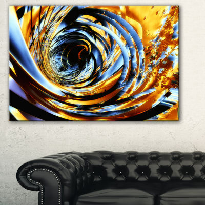 Designart Fractal 3D Whirlwind Stripes Abstract Canvas Art Print
