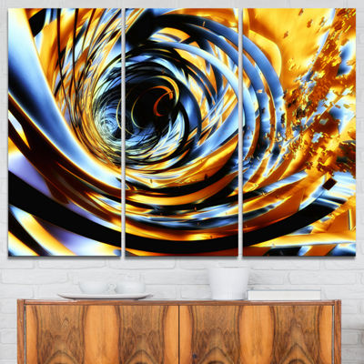 Designart Fractal 3D Whirlwind Stripes Abstract Canvas Art Print - 3 Panels