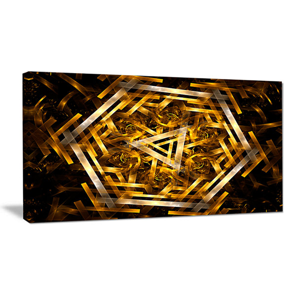 Designart Fractal 3D Yellowish Hexagon Abstract Canvas Art Print