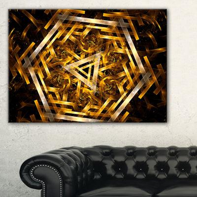 Designart Fractal 3D Yellowish Hexagon Abstract Canvas Art Print - 3 Panels