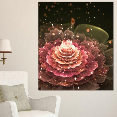 Design Art Fractal Abstract Pink Flower Floral ArtCanvas Print - 3 Panels