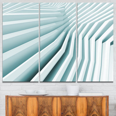 Designart Fractal Architecture 3D Waves AbstractCanvas Art Print - 3 Panels