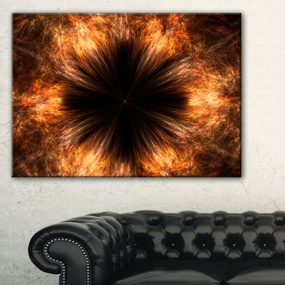 Designart Fractal Black Brown Flower Floral CanvasArt Print - 3 Panels