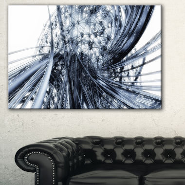 Design Art Fractal Black N White Connected StripesCanvas Art Print