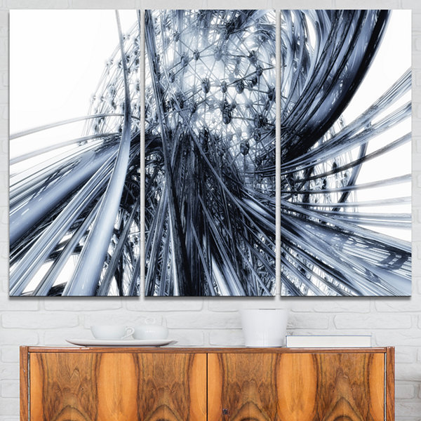 Designart Fractal Black N White Connected StripesCanvas Art Print - 3 Panels