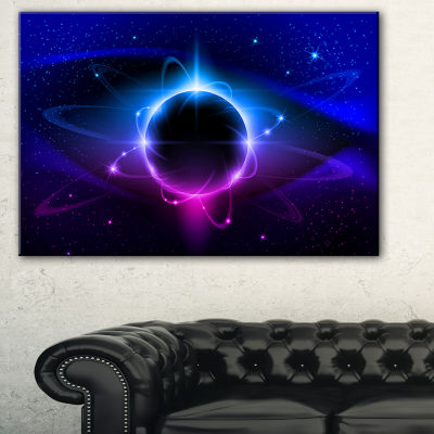 Designart Fractal Black Star Abstract Canvas ArtPrint - 3 Panels