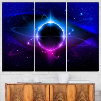 Designart Fractal Black Star Abstract Canvas Art Print - 3 Panels