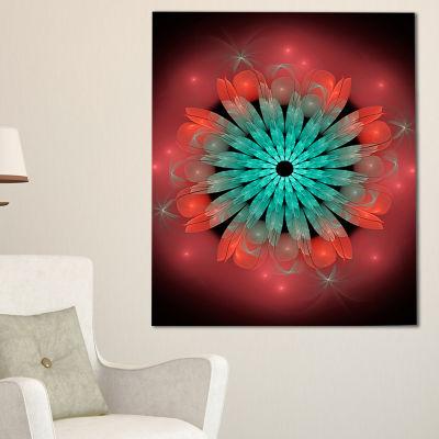 Designart Fractal Blooming Blue Red Flower FloralArt Canvas Print - 3 Panels