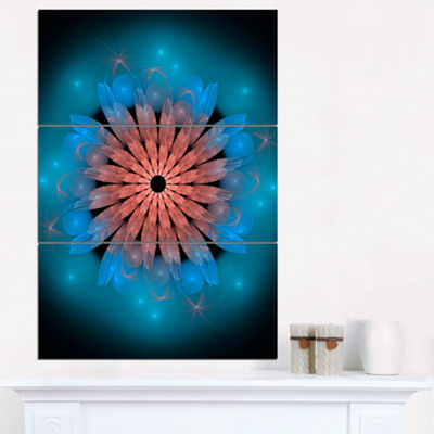 Designart Fractal Blooming Turquoise Flower FloralArt Canvas Print - 3 Panels
