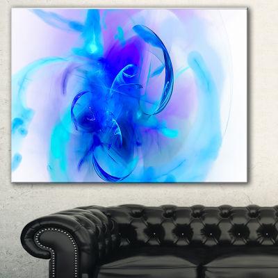 Designart Fractal Blue 3D Art Floral Art Canvas Print