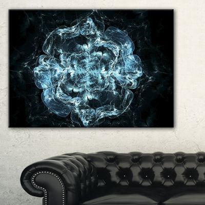 Designart Fractal Blue Flower Explosion Floral ArtCanvas Print - 3 Panels