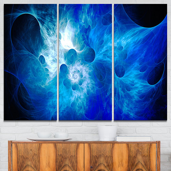 Design Art Fractal Blue Smoke Floral Art Canvas Print - 3 Panels