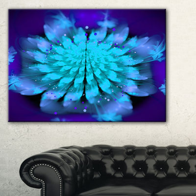 Designart Fractal Blue Spread Out Flower Floral Art Canvas Print - 3 Panels