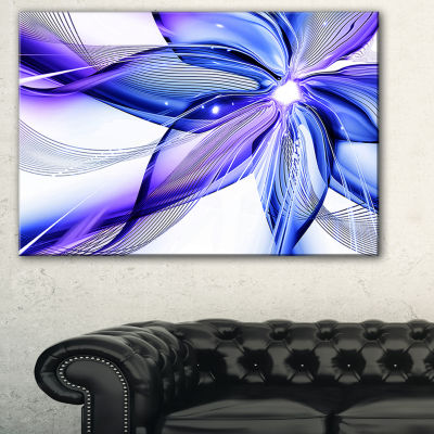 Designart Fractal Bright Blue Flower Floral Art Canvas Print