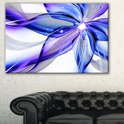 Designart Fractal Bright Blue Flower Floral Art Canvas Print - 3 Panels