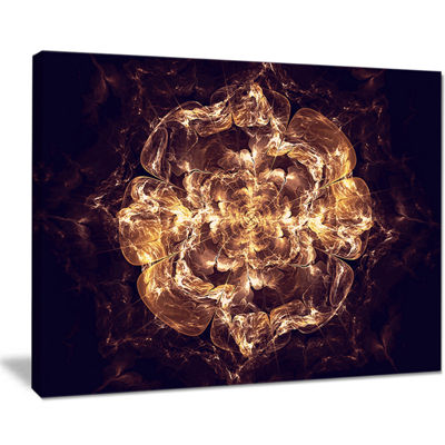 Designart Fractal Brown Flower Explosion Floral Art Canvas Print
