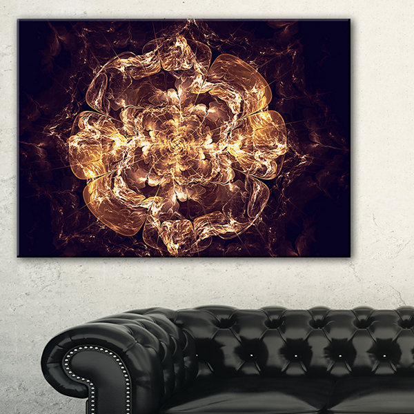 Designart Fractal Brown Flower Explosion Floral Art Canvas Print - 3 Panels