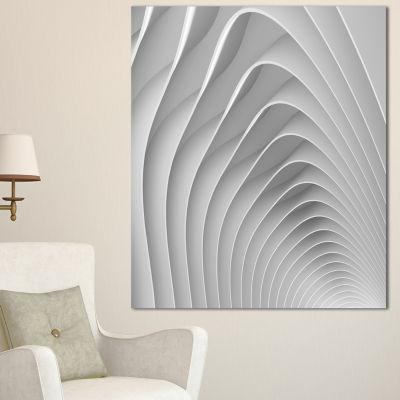 Designart Fractal Bulgy White 3D Waves Abstract Canvas Art Print - 3 Panels