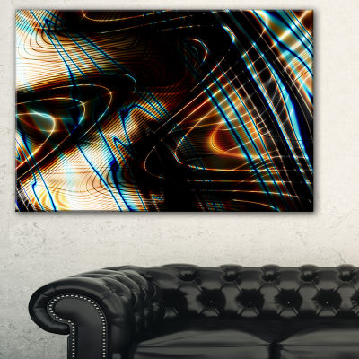 Design Art Fractal Curved Brown Black Stripes Abstract Canvas Art Print
