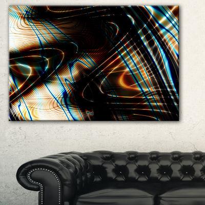 Designart Fractal Curved Brown Black Stripes Abstract Canvas Art Print