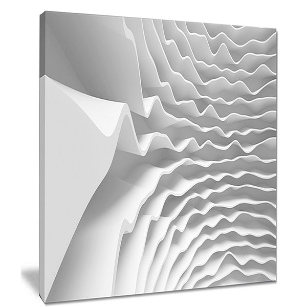 Design Art Fractal Curved White 3D Waves AbstractCanvas Art Print