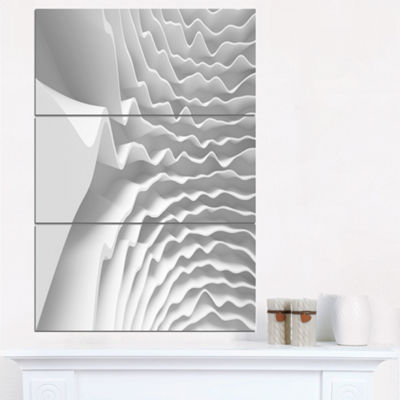 Designart Fractal Curved White 3D Waves AbstractCanvas Art Print - 3 Panels