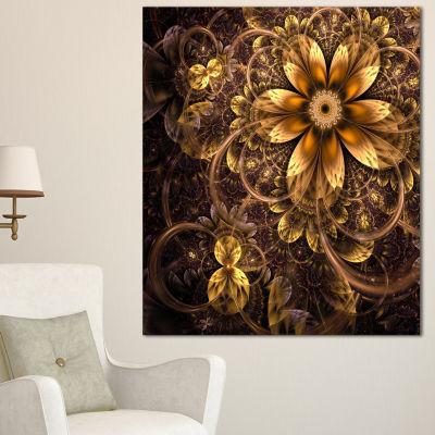 Designart Fractal Dark Yellow Flower Floral Art Canvas Print