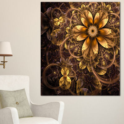 Designart Fractal Dark Yellow Flower Floral Art Canvas Print - 3 Panels