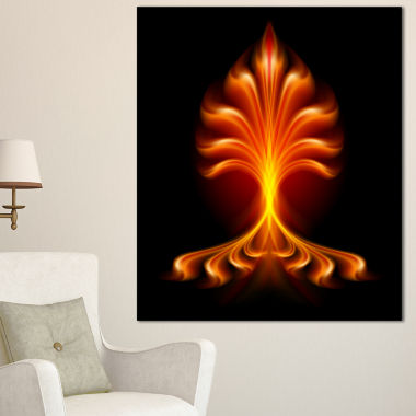 Designart Fractal Fire Flower Floral Art Canvas Print