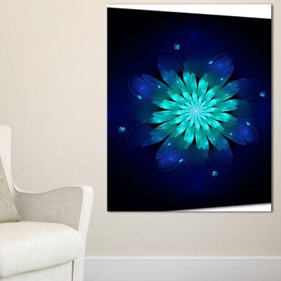 Designart Fractal Flower Blue N Turquoise FloralArt Canvas Print - 3 Panels