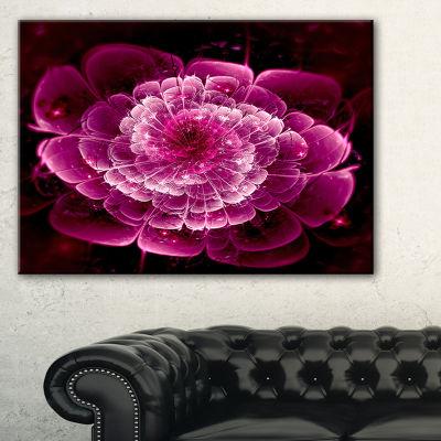 Designart Fractal Flower Dark Pink Floral Art Canvas Print