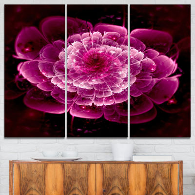 Designart Fractal Flower Dark Pink Floral Art Canvas Print - 3 Panels