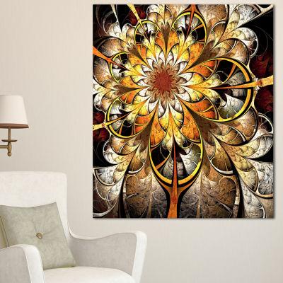 Designart Fractal Flower Dark Yellow Floral Art Canvas Print