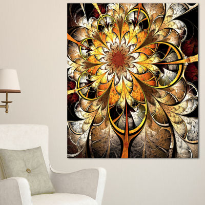Designart Fractal Flower Dark Yellow Floral Art Canvas Print - 3 Panels