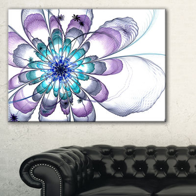 Designart Fractal Flower Light Blue Floral Art Canvas Print