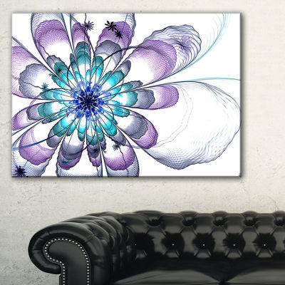 Designart Fractal Flower Light Blue Floral Art Canvas Print - 3 Panels
